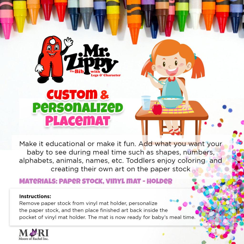 Custom Placemat for Children Kids Babies Toddlers | Develop Creativity | Early Achievement Development | Personalize Placemat | Reusable Vinyl Mat Holder